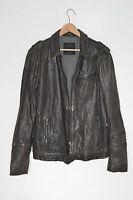 **ALLSAINTS** Spitalfields Mens Grey Caldwell Military Biker Leather Jacket XL