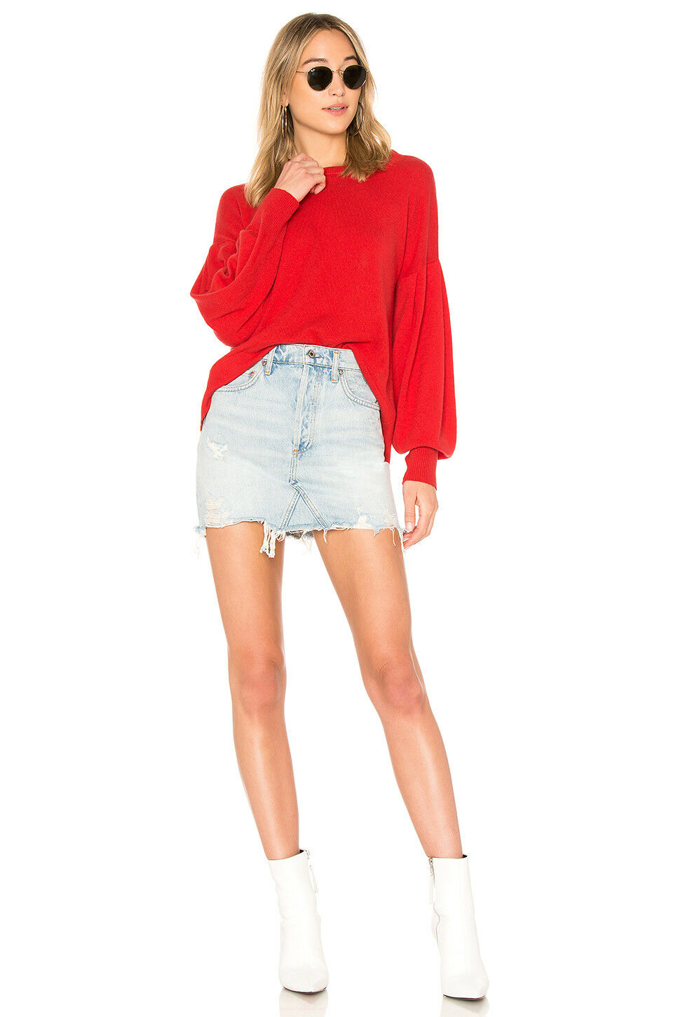 NWT Vince Pleated Pleated Pleated Sleeve Cashmere Crew Sweater Poppy Size S  345 21aa88