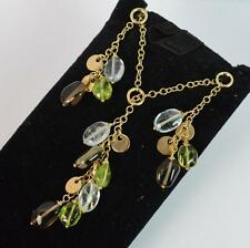 """9ct Gold Pendant Earrings & 16"""" Chain Set with Topaz Quartz and Peridot p1015"""