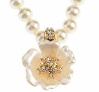 Nolan Millers Crystal Flower Enhancer & Simulated Pearl 16 Necklace