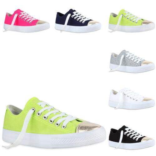 Modische Damen Sneakers Low Metallic Canvas Schuhe Freizeit 811111 Trendy Neu