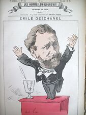 EMILE DESCHANEL DéPUTé SENATEUR CARICATURE GILL LES HOMMES D'AUJOURD'HUI 1878