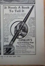 1906 Conklin Self-Filling Fountain Pen Ink Well Needs Book to Tell Vintage Ad