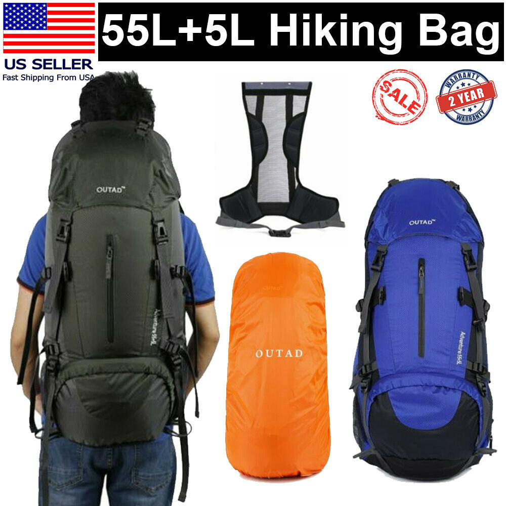 60L exterior Travel Hiking Camping Backpack Waterproof Rucksack Trekkin... - s l1600