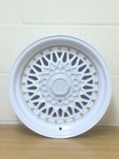 "15"" d-lux WHEELS WHITE & GOLD RIVETS RETRO 8x15 1RENAULT HONDA  NISSAN  VW"