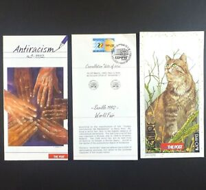 3 Vtg 1990s Belgium Post Office Pamphlets Seville World Fair & Others