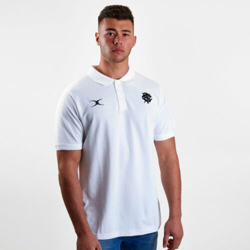 Gilbert Mens Barbarians 2019 Off Field Rugby Polo Shirt T-Shirt Top White