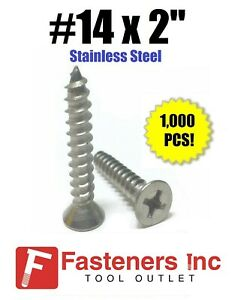 #14 x 3//4 Phillips Flat Head Sheet Metal Screws Stainless Steel 1//4 x 3//4 25