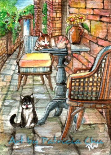 "ACEO LE Art Card Print 2.5x3.5/"" Cats At The Back Alley /"" Animal Art by Patricia"