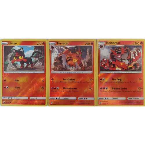 3er Set Pokemon R-Holo  24//149 Litten 25//149 Torracat 26//149 Incineroar EN NM