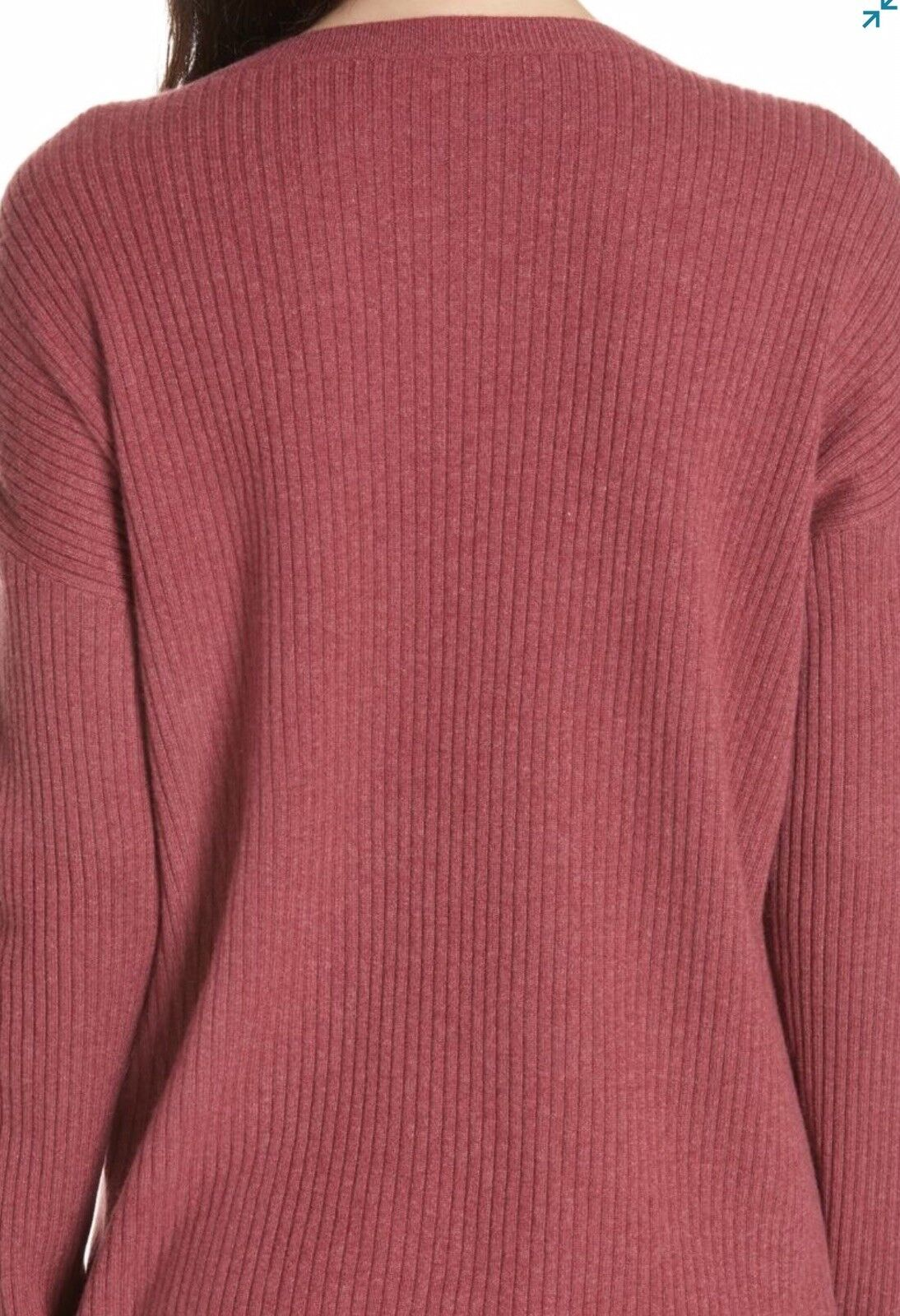 Eileen Fisher Boxy Ribbed Motry Red Red Red Cashmere Sweater Size M 815c31