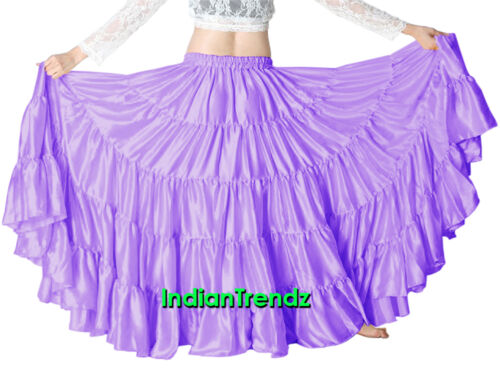 Satin 25 Yard 5 Tiered Gypsy Skirt Belly Dance Tribal Ruffle Jupe Flamenco Roken
