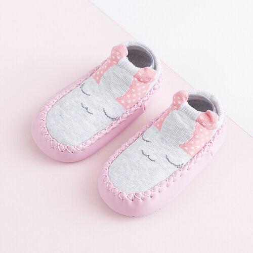 1x Toddler Newborn Slipper Baby Leather Soles Cartoon Anti-slip Socks Shoes Boot