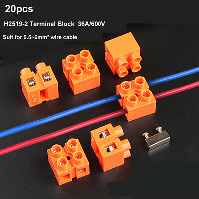 20pcs 2-Way Quick Splice Screw Terminal Block Electrical Wire Connector 36A//600V