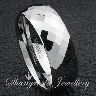 SOLID MENS TUNGSTEN CARBIDE POLISH DIAMOND CUT RING ENGAGEMENT BAND JS015