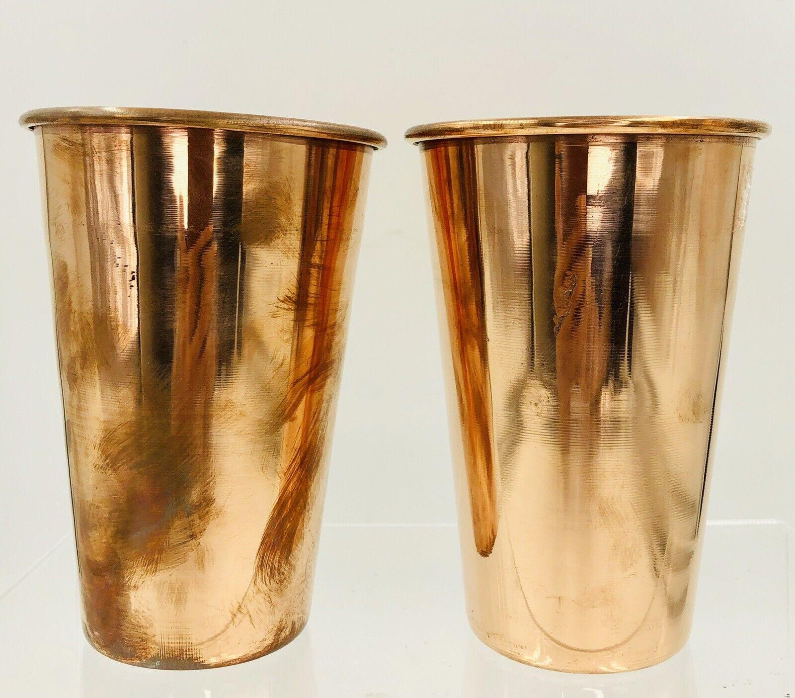PURE Copper Beakers Set 2 LOT Vase SHOT Glasses Beer Sake Vintage Metal