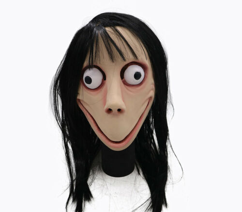 Horror MOMO Scary Halloween Latex Mask Head Hair Wig Cosplay Headgear Party Prop