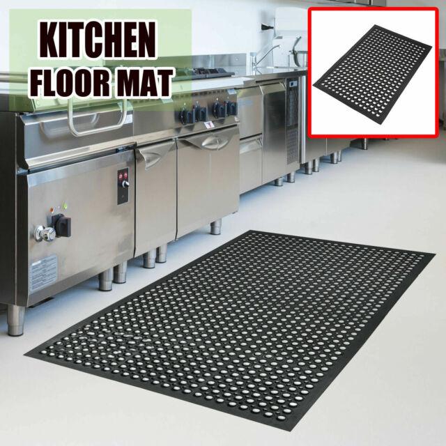 Rubber Kitchen Mat Anti-fatigue Drainage Non-slip Hexagonal Restaurant  Floor Mat