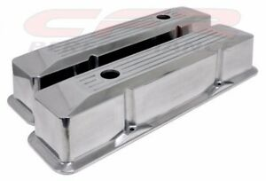 Recessed Ball Milled Polished Aluminum Valve Covers For Chevy SB 283 305 327 350