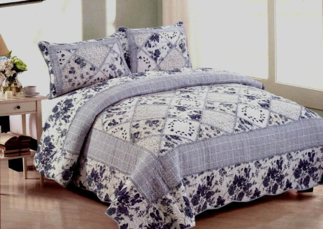 COTTAGE ROMANTIC COUNTRY WHITE FLORAL GARDEN BLUE PATCH 3pc King QUILT SET