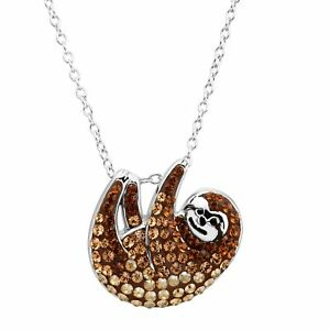 b4e194a1b Image is loading Crystaluxe-Sloth -Pendant-with-Swarovski-Crystals-in-Sterling-