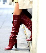 ZARA RED LEATHER HIGH HEEL OVER THE KNEE BOOTS WITH  WIDE LEG SIZE UK 5 35