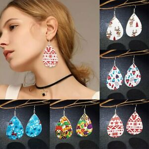 Christmas-Elk-Snowflake-Teardrop-Leather-Earrings-Ear-Hook-Drop-Dangle-Xmas-Gfit