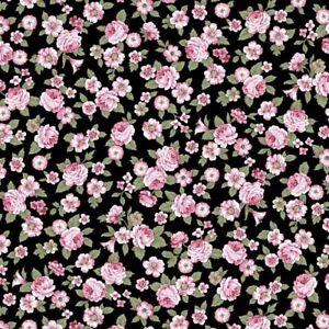 coupon-de-tissu-patchwork-shabby-Juliet-Rose-petites-roses-fond-noir-45x55cm