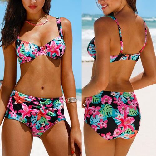 Damen Bandage Blumen Hohe Taille Bikini Sets Bademode Badeanzug Swimwear Sommer