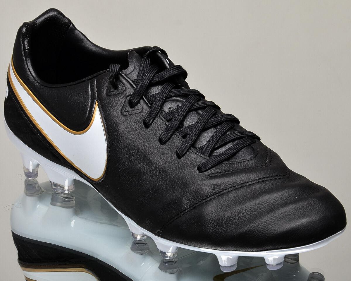 Nike Tiempo Legacy II FG 2 men soccer cleats football black gold 819218-010
