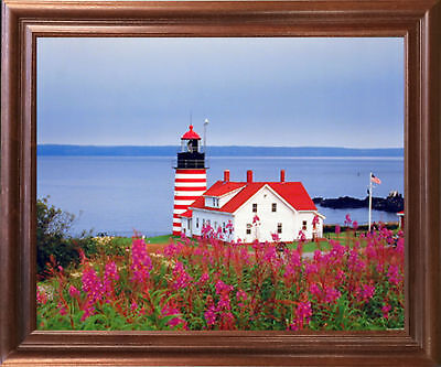 West Quoddy Head Lighthouse Seascape Wall Mahogany Framed Art Print Picture
