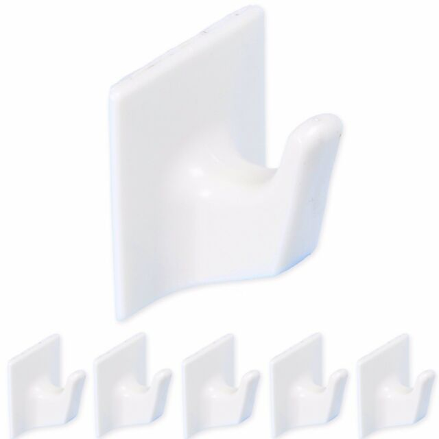 5x LARGE WHITE SELF ADHESIVE HOOKS Wall Door Stick On Hanger Sticky Clothes Pegs