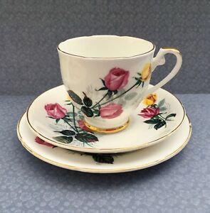 ROYAL-GRAFTON-1950s-TRIO-SET-CUP-SAUCER-PLATE-PINK-YELLOW-ROSE-FLORAL-GILDED