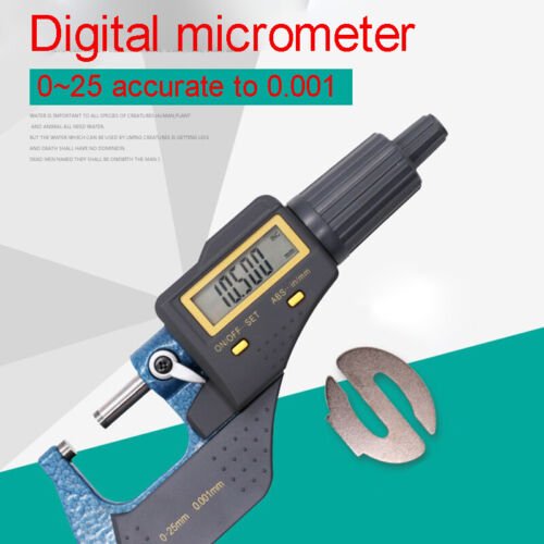 0-25mm Digital External Micrometer Electronic Thickness Gauge 0.001mm in//Metric