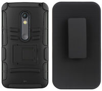 Black Rugged Skin Hard Case Stand Belt Clip Holster For Motorola Droid Maxx 2 on sale