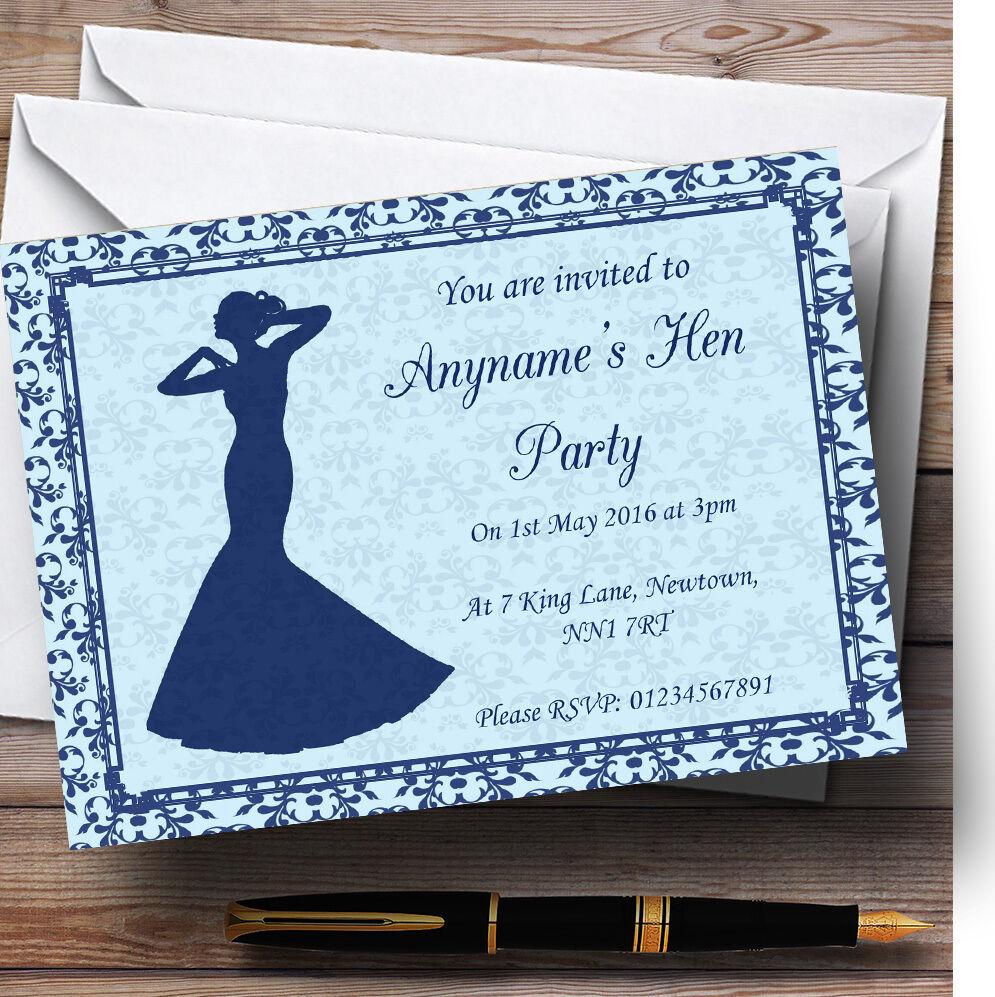 Blue classic vintage personnalisé invitations poule invitations personnalisé Fête 7a53df
