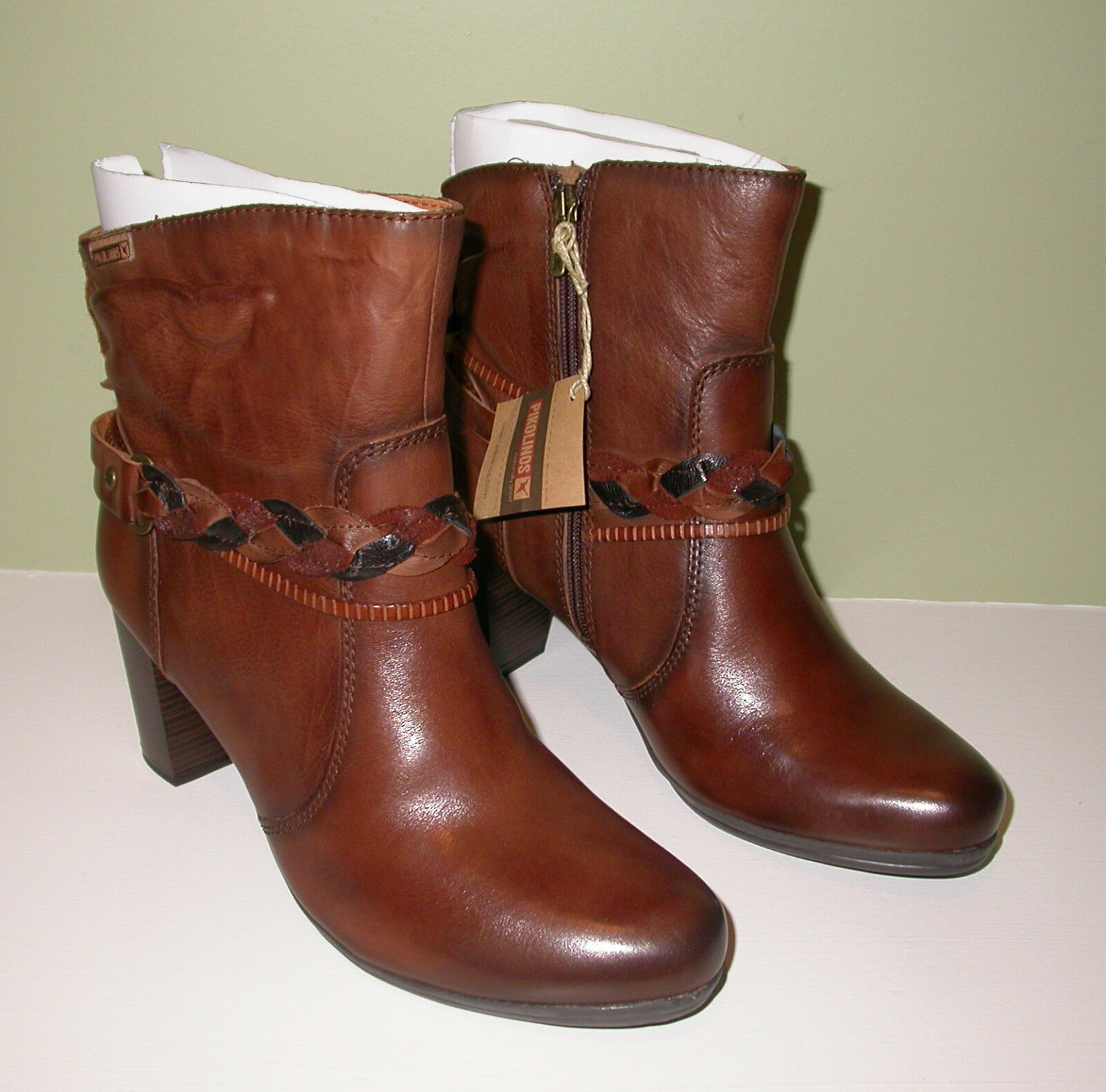 NIB PIKOLINOS Verona W5C-8576 Brown (Cuero) Leather Leather Leather Ankle Boots Sz 39 EU 29efe1