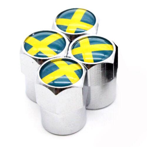 Tapas de polvo x4 Suecia Flag Logo insignia de válvula de Plata se adapta sueco Volvo Saab Scania