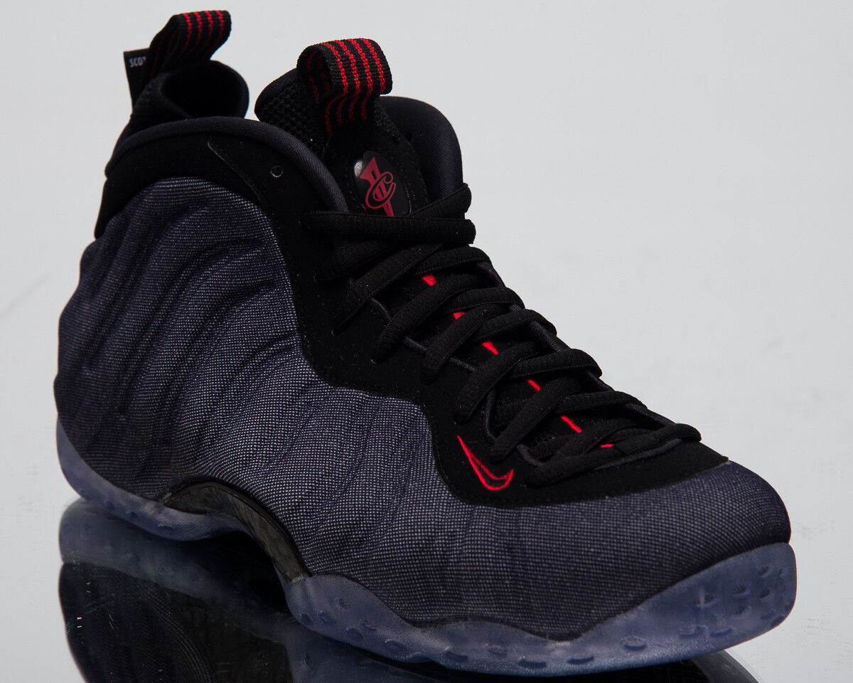 Nike Air Foamposite One Denim Men New Obsidian Black Red Sneakers 314996-404