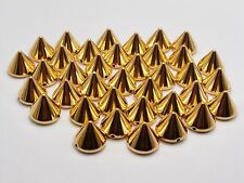 100 Gold Tone Metallic Rock Punk Spike Rivet Acrylic Taper Stud Beads 12X10mm