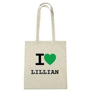 Umwelttasche - I love LILLIAN - Jutebeutel Ökotasche - Farbe: natur