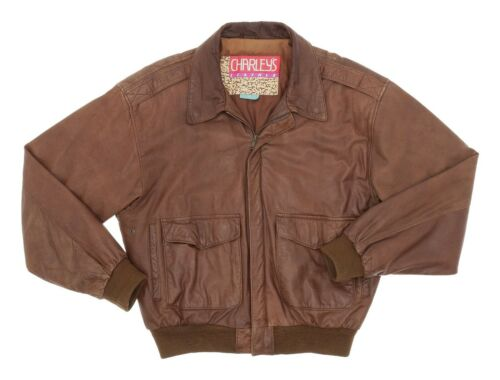 CHARLEYS Leather BOMBER Jacket M Medium Mens Brown