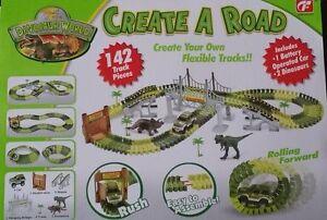 dino dinosaur race car track truck set w long bridge build a road flex flexible ebay. Black Bedroom Furniture Sets. Home Design Ideas