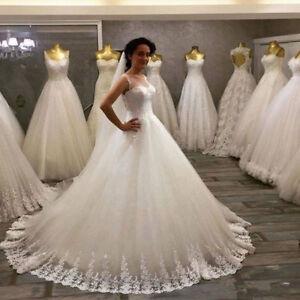 New-Puffy-Lace-White-ivory-Bridal-Gown-Wedding-Dress-Custom-Size-4-6-8-10-12-18