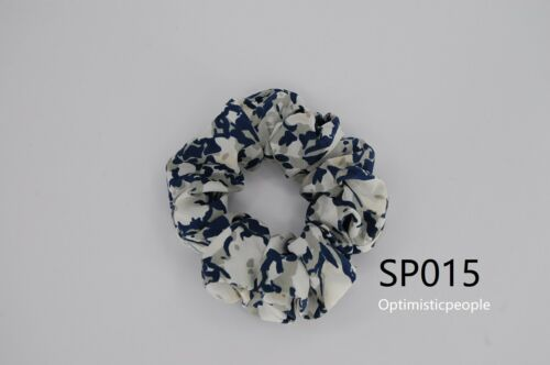 Silk Hair Scrunchies Ponytail Holder Elastic Ties Hair Band Navy on White SP015