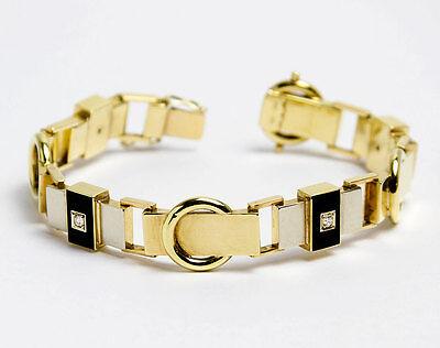 Goldenes Art Deco Armband mit Onyx & 0,4 ct Diamanten 585 Gold um1930 Bracelet