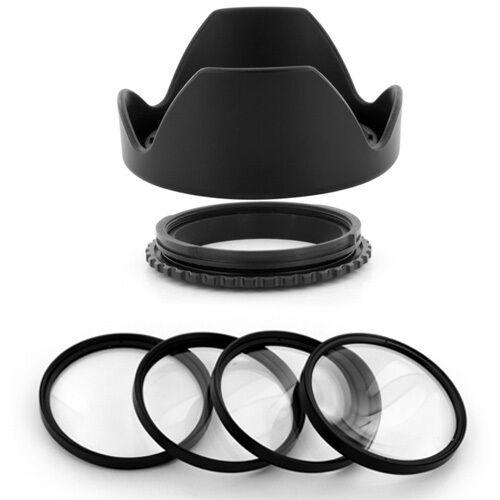 Macro Filter Kit for Nikon Nikkor 18-200mm AF-S DSLR 72mm Reversible Lens Hood