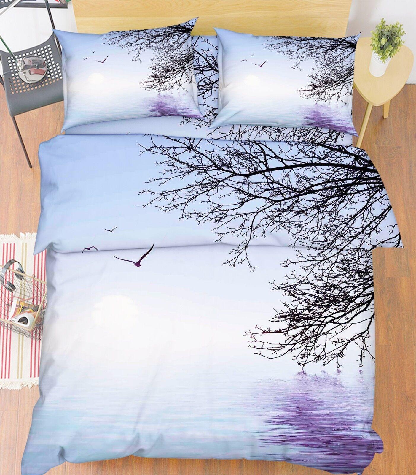 3D Winter Tree Sea 63 Bett Pillowcases Quilt Duvet Startseite Set Single König UK Lemon
