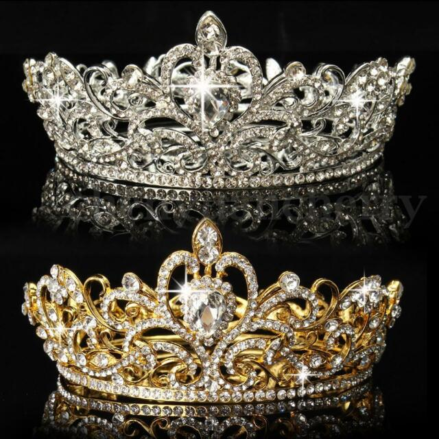 King Queen Crystal Rhinestone Crown Tiara Wedding Pageant Bridal Diamante HeadUS