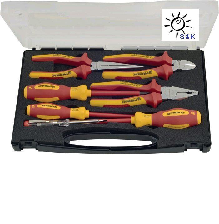 PROMAT Zangen   Werkzeugsatz 7tlg VDE isoliert bis 1000 V Kunststoffkoffer NEU